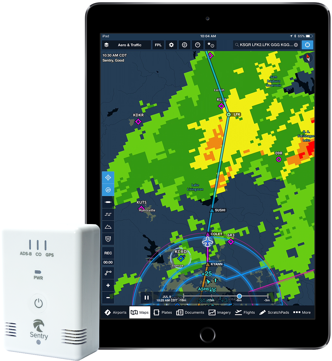 ADS-B traffic and weather on ForeFlight with Sentry